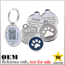 cheap waterproof qr code id custom logo metal pet round dog tag