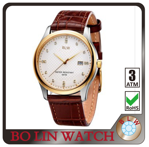 genuine leather watch, watch case stainless steel, high quality watch OEM