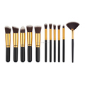 New design pressional 11pcs soft synthetic hair with wood handle makeup brush set