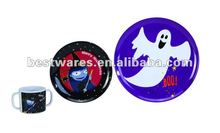 Round festival halloween melamine festival plate and cup