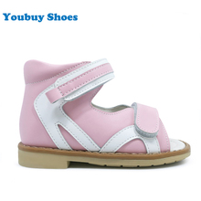 Pictures of kid girl safety orthopedic shoes children pink magic strap sandals fancy flat feet shoes