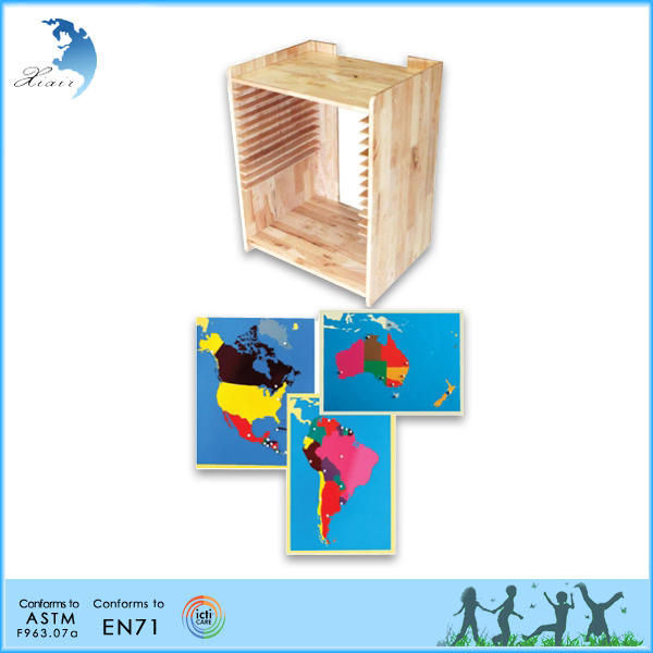 Preschool kids educational toy montessori meterial wooden geography map furniture
