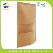 dried food fruit packaging use clear window zip lock kraft brown paper bag for dried food
