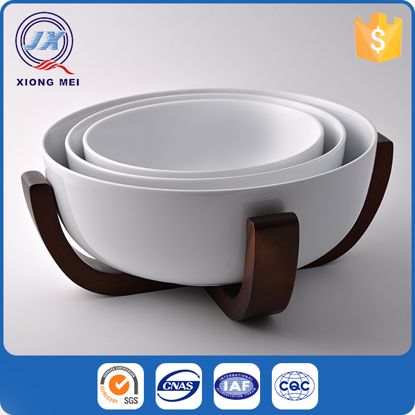 Various sizes porcelain product cheap bowl set with wooden stand