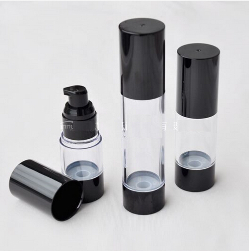 15ML/30ML50ML Classic Black Vacuum Airless Pump Bottle Cosmetic Essence Oil Lotion packing Refillable Bottle