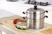 Two layers tall stainless steel steamer pot