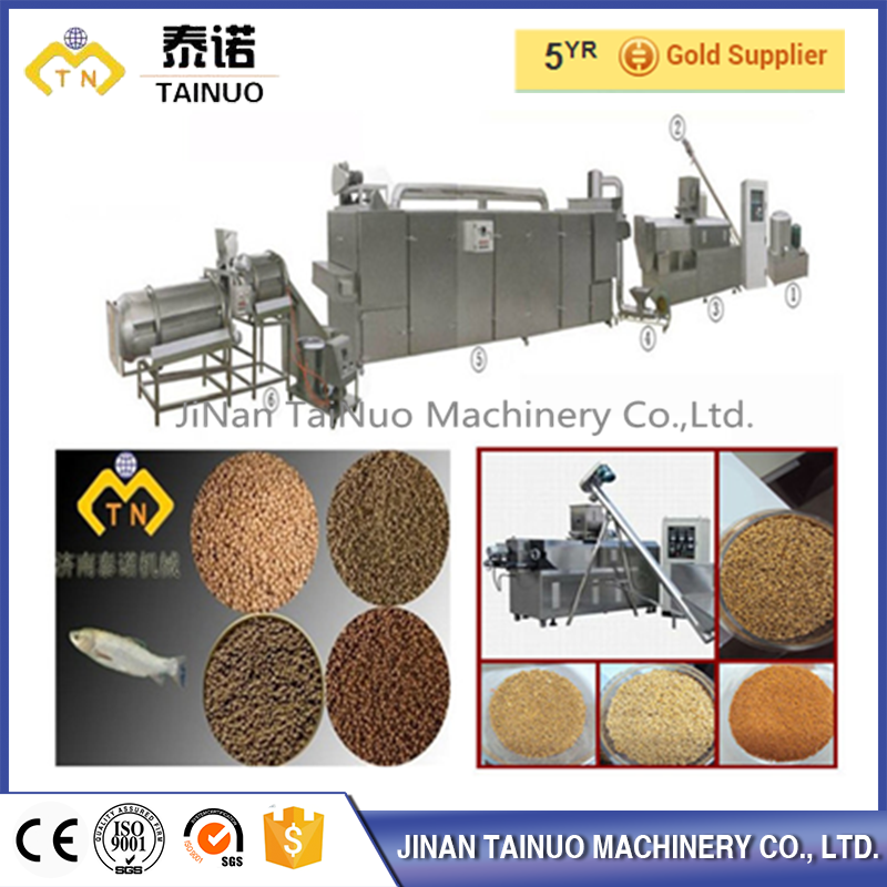 Automatic double screw fish food processing line