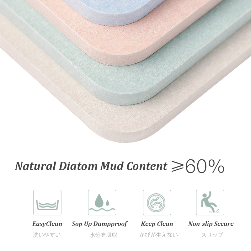 Waterproof Bathroom Accessories Diatomite Bath Mat Manufacturer For Selling