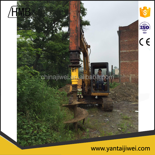 Backhoe earth auger drilling machine with drill head for deep well