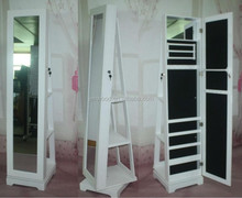 Full Length wooden cheval mirrored floor jewelry cabinet