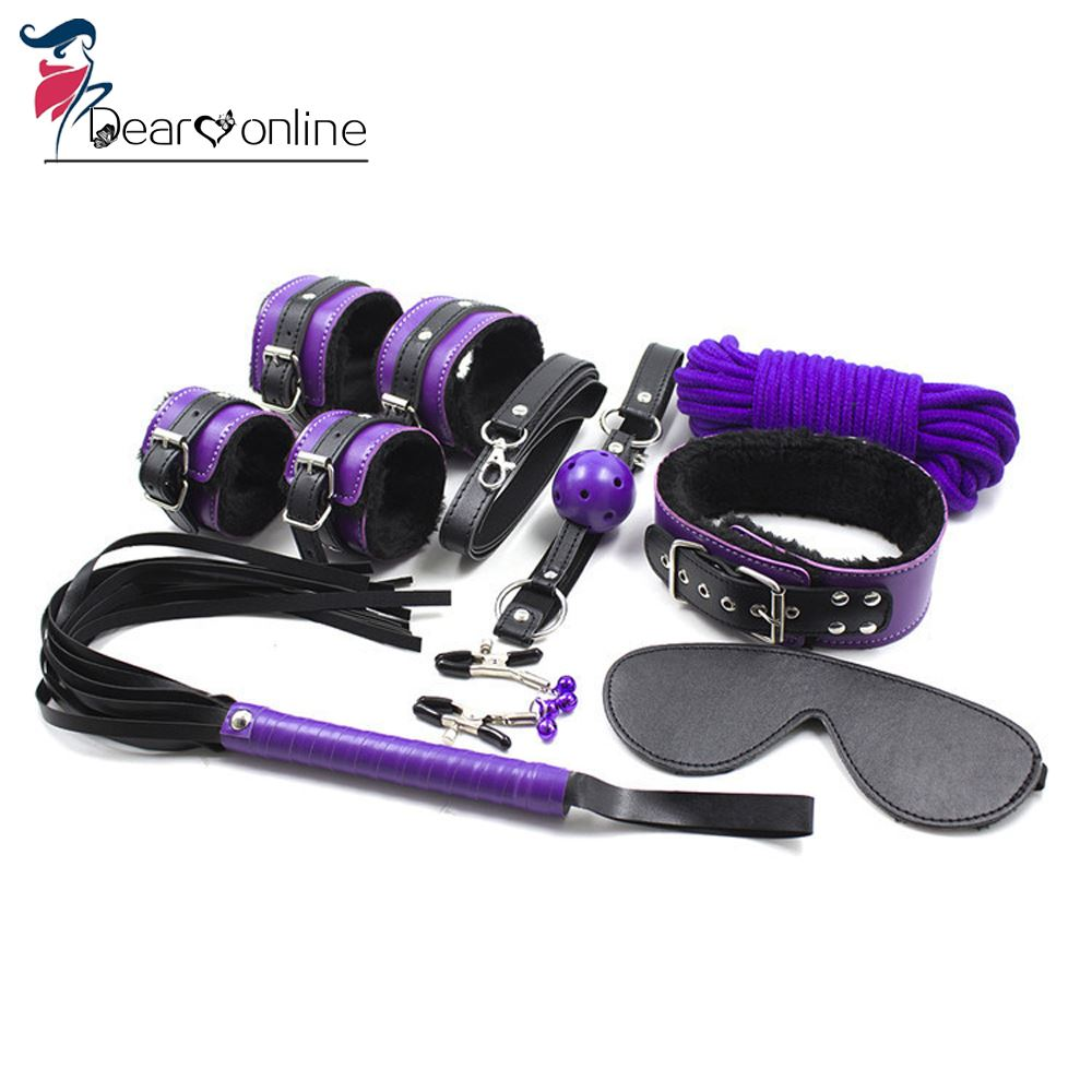PU Leather SM Sex Toys Slave Passion Love System Sex Bondage Kit Set 7pcs Bed Restraints Sex Toys for Couples Lover Adult