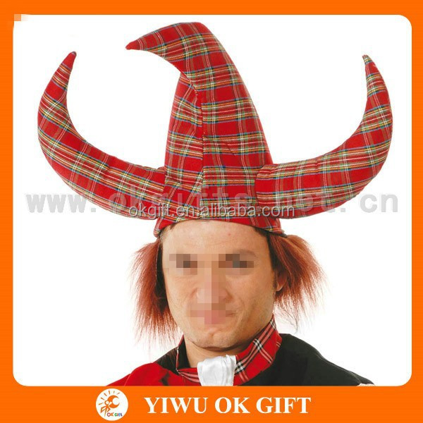 Red checked bull horn hat, devil horn hat, brazil carnival hat