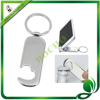 metal keyring for mobile holder and bottle opener, Metal keychain with mobiler stander and opener, metal opener keychains