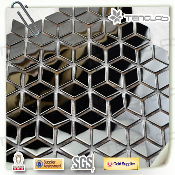 rhombus silver stainless steel mosaic backsplash tiles