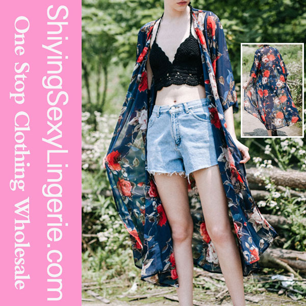 Wholesale new design print Navy Blooming Roses Sheer Chiffon Kimono