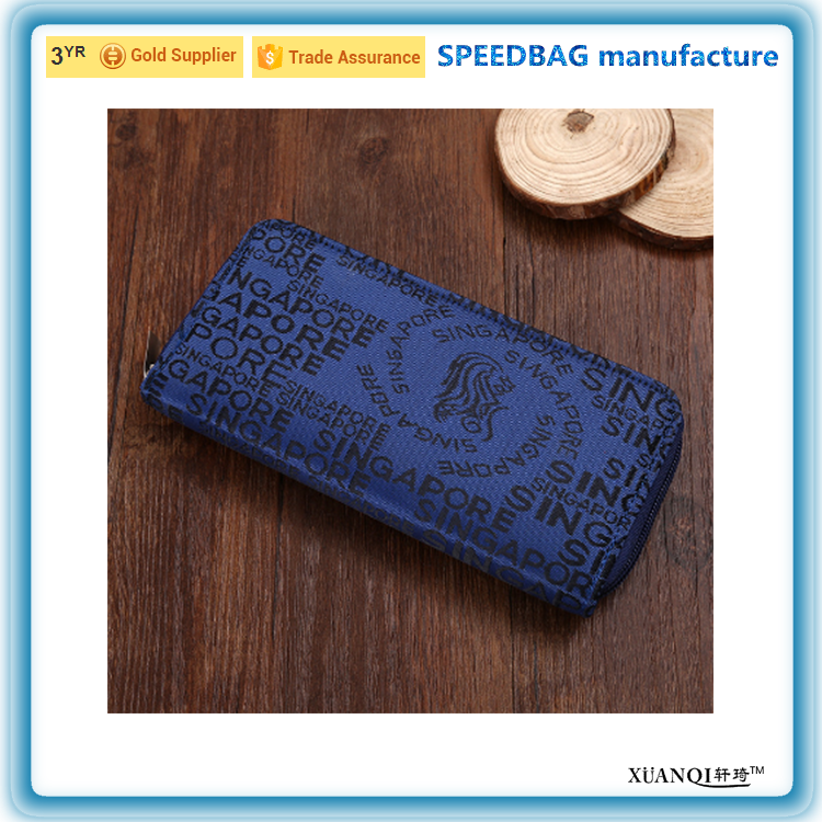Dark blue long zipper Cheap polyester lady wallet