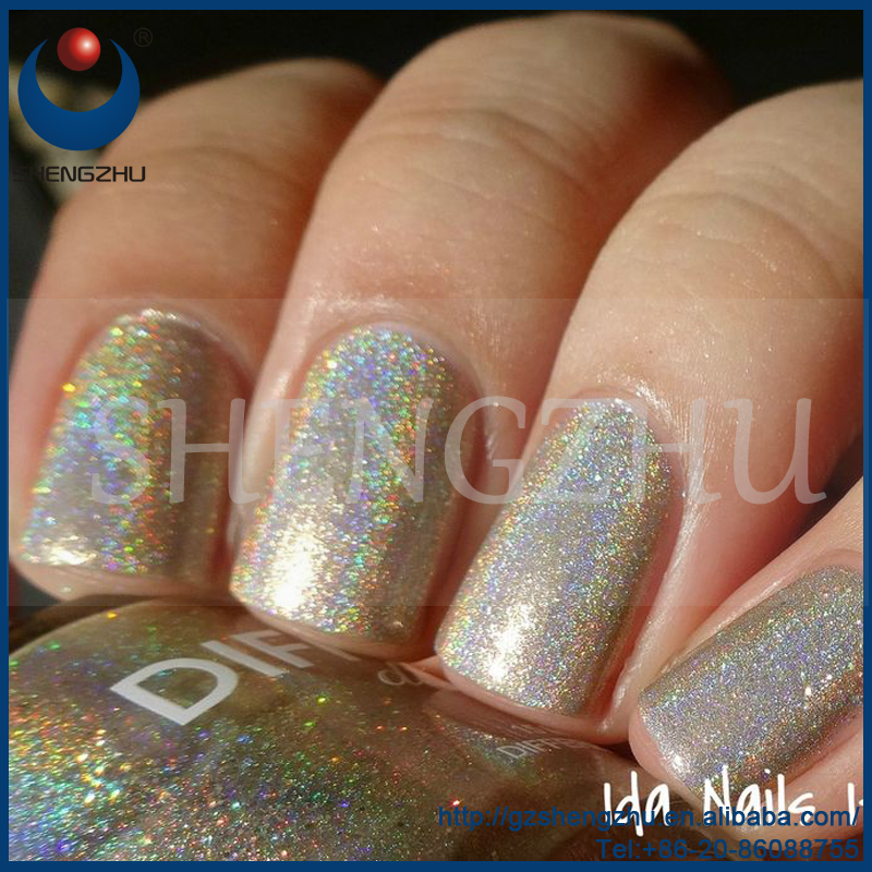 Rainbow pigment, Silver Holographic effect pigment for MAC nail polish powder