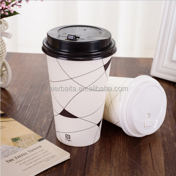 16 oz thick soya-bean milk cups disposable coffee milk tea drink to go wholesale takeaway paper cups with cover