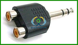 wholesale 6.35mm STEREO Jack Plug to 2 x RCA Phono Female Y Splitter Adaptor 6.3mm