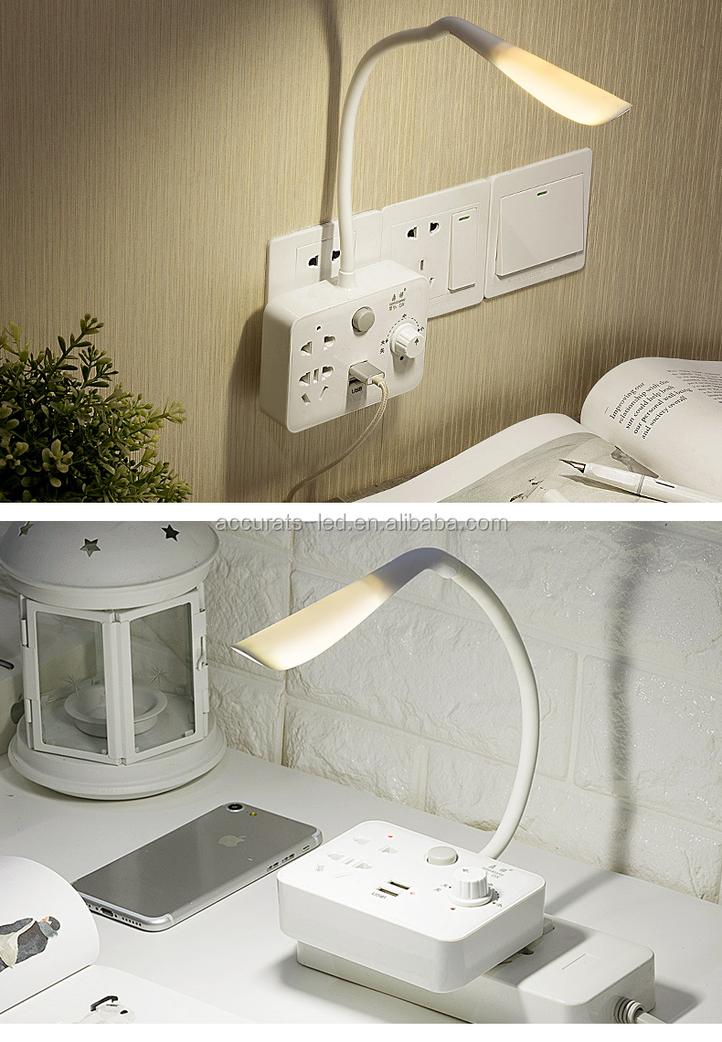 2019 New design modern  led desk lamp table lamp nigh light with power strip USB charging