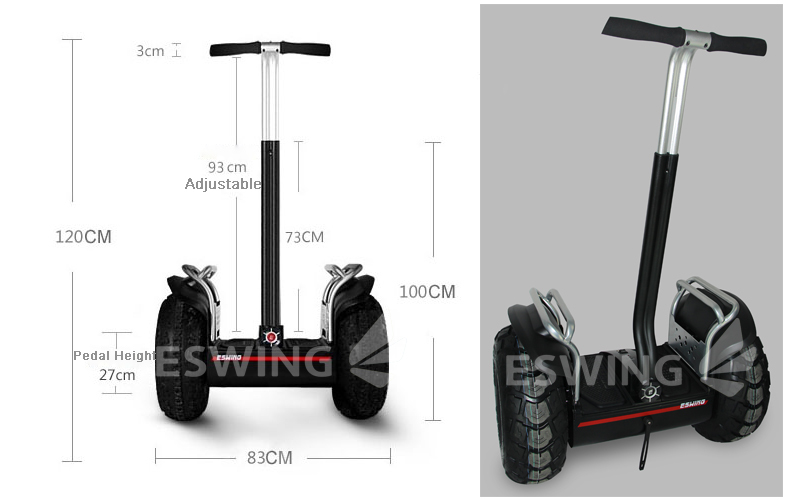 ESWING China Wind shenzhen supplier Off-road Freegoing Rover Motorcycle electric chariot x2 two wheels self gyropode scooter
