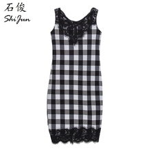 ShiJ 2017 New Design Brand Casual Black White Lattice Lace Vest Women Dresses