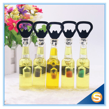 Shinny Gifts Liquid Bottle Shape Black Bottle Opener with Sand Timer bottle shaped fridge magnet