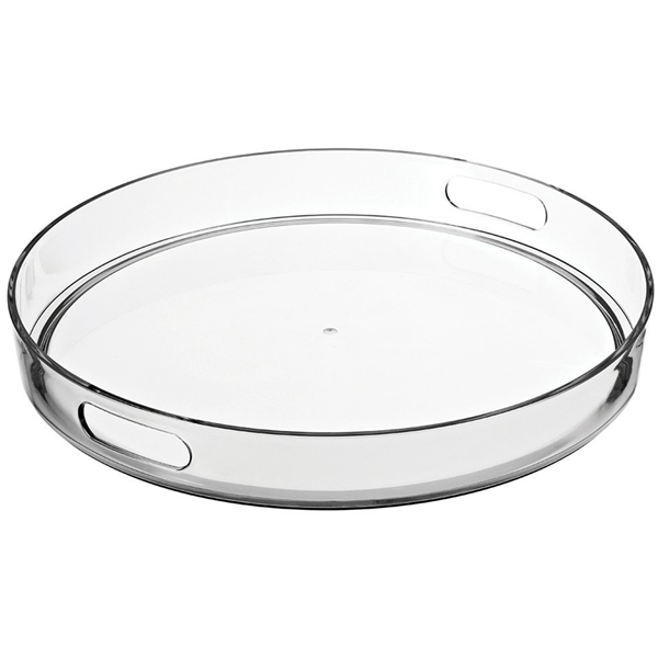 Round clear acrylic tray, lucite serving tray, perspex food tray dessert tray with handle