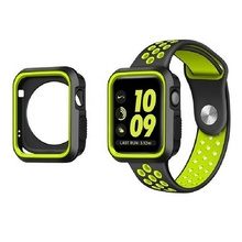 Shock-Proof Soft Silicone Sport Replacement wrist watch glass screen Protector Case cover for apple iwatch series 1 2 3 4 Nike+