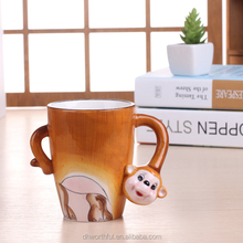 Hand-painted 3D Ceramic Animal Mug ,Monkey Design