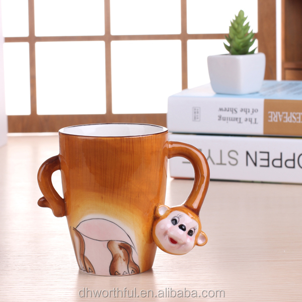 Hand-painted 3D Ceramic Animal Mug with monkey design