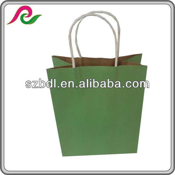 Retail cheap recycled green kraft shopping paper bag with paper handle