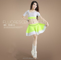 Sexy Fluorescent Colors Belly Dancing Practice Costumes with High Quality