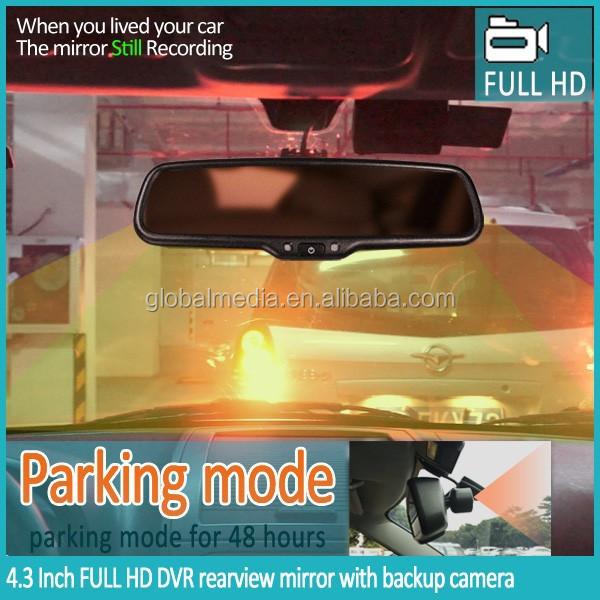 Car HD DVR 1080P Type and 4.3 inch Screen Size Car DVR rearview mirror with gps tracker