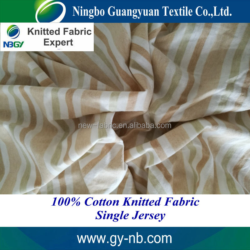 32s 100% cotton knitted fabric colored cotton fabric eco-friendly bedding set fabric