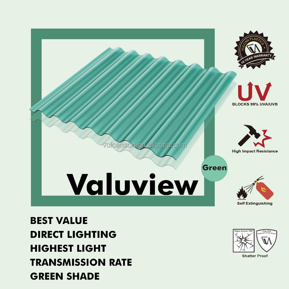 Covestro UV400 Color Corrugated plastic polycarbonate roofing Sheet (Valuview Green ROMA)
