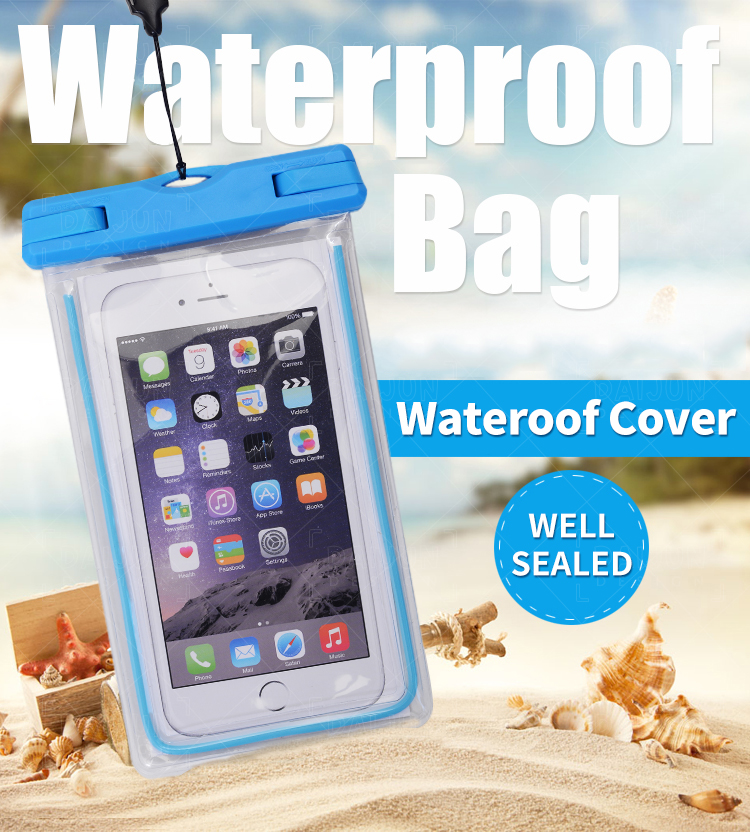 Wholesale Fashion sealed Carry Mobile Cell  Phone  Waterproof Phone Bag for iPhone Samsung Huawei Xiaomi Oppo Lg Nokia