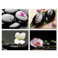 Interior Decorative Pebble Canvas Painting/Zen Stone Canvas Wall Art Prints/Flower Petal Canvas Printing 4 Pcs