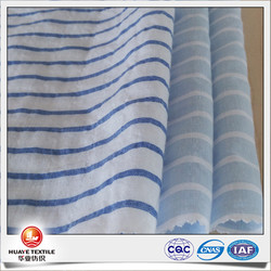 yarn dyed blue and white stripe fabric crepe for making dresses