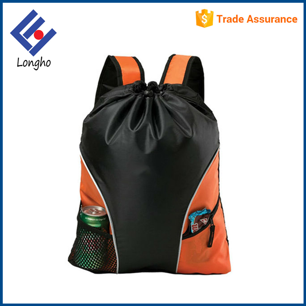 Made in china outdoor sport cinch backpack contrast color two front pocket heavy duty string backpack drawstring bag