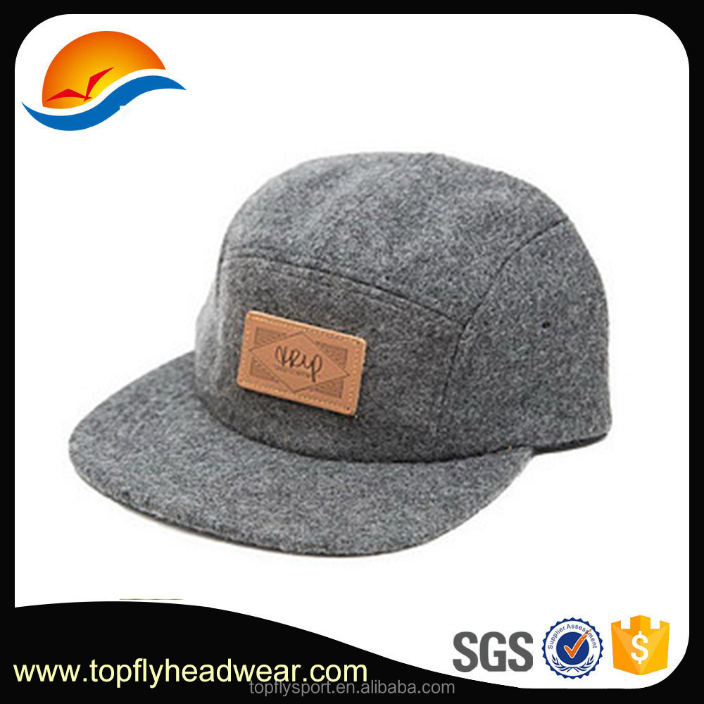Custom fashion wool 5 panel camp cap with leather patch