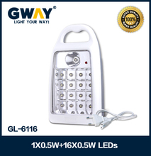 45+350lm0.5+8w 1spotlight + 16 LED rechargeable emergency lights 6V4AH sealed lead-acid battery