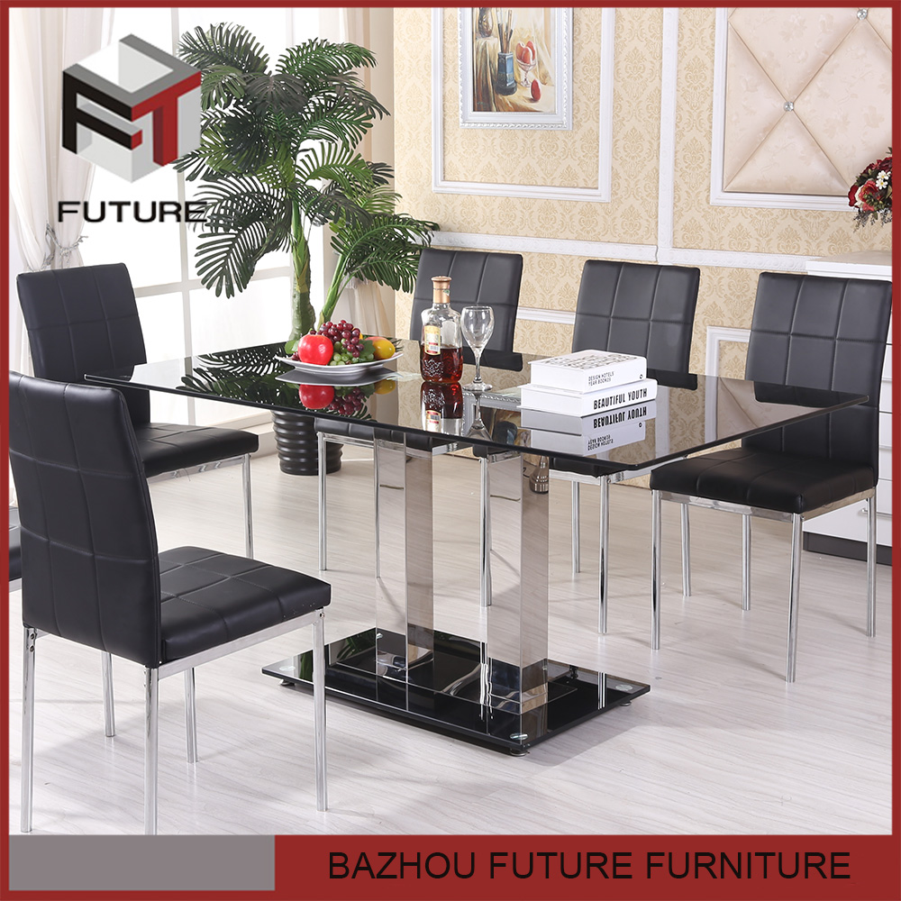 glass top modern black lacquer dining room furniture sets
