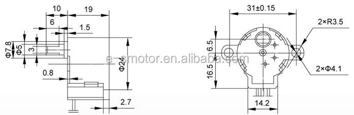 5v 24byj stepper motor w screw threaded shaft buy 24byj for Threaded shaft stepper motor