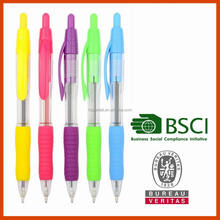 Plastic ballpoint pen with transparent barrel colored accents form promotion