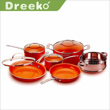 10 Piece Red color copper Masterclass premium Non-stick Luxury Induction Cookware Set