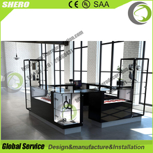 SO-LL Clear Tempered Glass Wooden Furniture jewellery kiosk