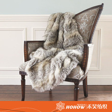 58*36 inch luxury brand long plush faux fur blanket Reversible throw blanket