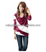2014 fashion comfortable and soft loose fit t shirts for women definitely cute long sleeve OEM