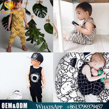 2017 wholesale cotton summer newborn baby clothes sleeveless long pants jumper jumpsuits one-piece baby party wear romper